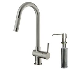 <strong>Vigo</strong> One Handle Single Hole Pull-Out Spray Kitchen Faucet with Soap Dispenser