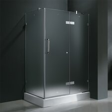 Frameless Pivot Door Shower Enclosure with Right Drain