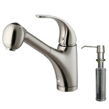 <strong>Vigo</strong> One Handle Single Hole Spray Kitchen Faucet with Soap Dispenser