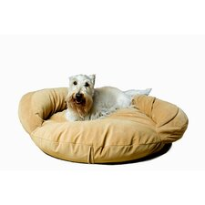 Velvet Microfiber Bolster Dog Bed in Caramel