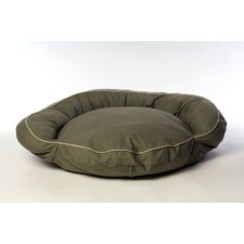 Classic Twill Bolster Dog Bed in Sage with Khaki Cording