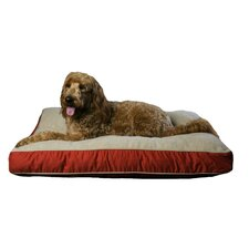 Four Season Pet Bed with Cashmere Berber Top in Red with Khaki Cording