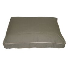Classic Twill Rectangular Pet Bed in Sage with Khaki Cording