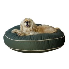 Twill Classic Round Pet Bed in Sage with Khaki Cording