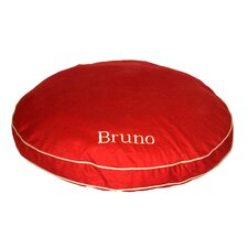 Twill Classic Round Pet Bed in Red with Khaki Cording