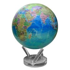 """8.5"""" Blue Oceans Political Map Globe with Crystal Base"""