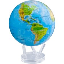 """8.5"""" Blue Oceans Relief Map Globe with Crystal Base"""