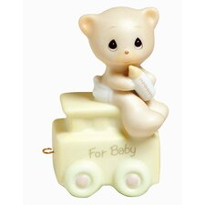 """Birthday Train May Your Birthday Be Warm"" Baby Bear Figurine"