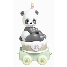 "<strong>Precious Moments</strong> ""Birthday Train Give a Grin and Let The Fun Begin"" Panda Figurine"