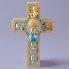 <strong>Precious Moments</strong> Jesus Loves Me Boy Praying Cross Wall Art
