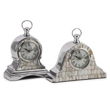 2 Piece Mother of Pearl Table Clock