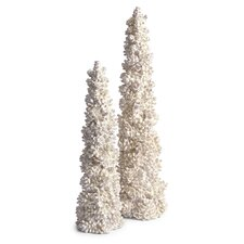 Woodland Vintage Tabletop Pinecone Trees Statue (Set of 2)