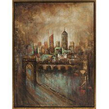 <strong>IMAX</strong> Skyline Cityscape Framed Oil Painting Wall Art