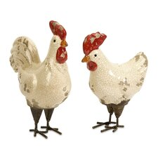 2 Piece Quinn Rooster Figurine Set