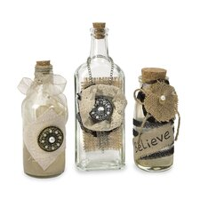 3 Piece Vintage Iva Decorative Bottle Set