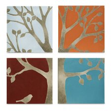 Meadow 4 Piece Painting Print Plaque Set