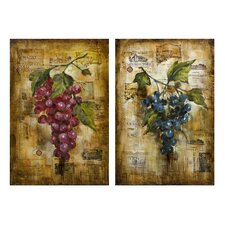 Vineyard Grape 2 Piece Painting Print on Canvas Set