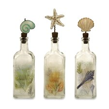 <strong>IMAX</strong> 3 Piece Burton Coastal Glass Bottles Sculpture