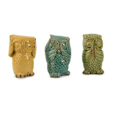 3 Piece Wise Owls Figurine Set