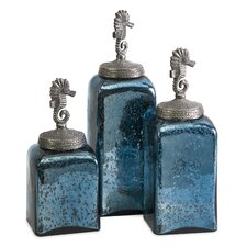 Hammered 3 Piece Seahorse Canisters Set