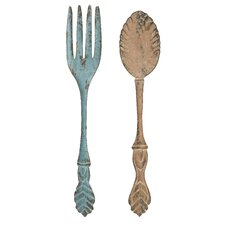 2 Piece Fork and Spoon Wall Décor Set