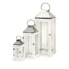 3 Piece Martha Wood Glass and Stainless Iron Lanterns Set