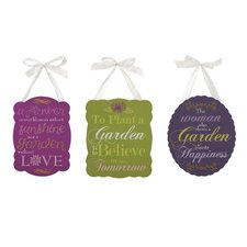 3 Piece Garden Inspired Plaques Set
