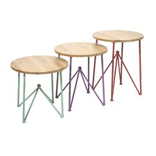 Alice 3 Piece Metal and Wood End Tables Set