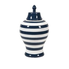 Hudson Large Striped Lidded Urn