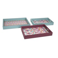 3 Piece Becerra Wood and Glass Trays Set
