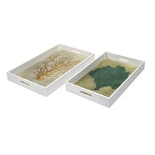 2 Piece Sea Fan Wood and Glass Tray Set