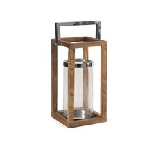 Stroud Glass and Stainless Steel Wood Lantern