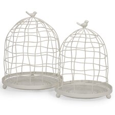 Picheno 2 Piece Glass and Metal Cloche Set