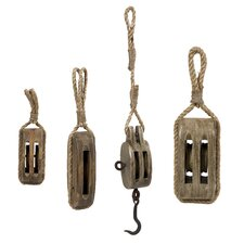 4 Piece Nautical Wooden Pulley Set