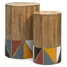 2 Piece Grewal Mango Wood Tables Set