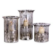 3 Piece Mercury Iron and Glass Candle Holders Set