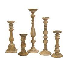 5 Piece Mason Natural Wash Wood and Iron Candle Holders Set