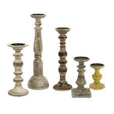 5 Piece Kanan Wood Candle Holders Set