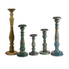 5 Piece Levi Wood Candle Holders Set