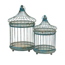 2 Piece Lizzy Bird Cages Set