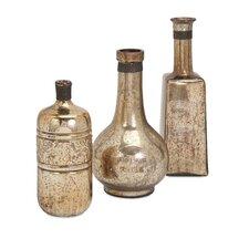 3 Piece Ari Mercury Glass Decorative Bottle Set