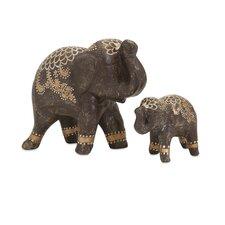 2 Piece Wikiel Painted Elephant Statue Set