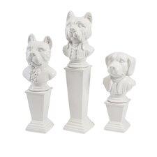 3 Piece Montclair Ceramic Dog Figurine Set