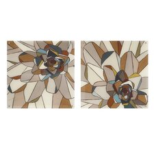 Stained Glass Floral 2 Piece Painting Print Set