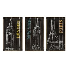 3 Piece City Chalk Art Wall Décor Set