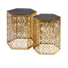 Nikki Chu Lancaster Gold Mirror Table - Set of 2