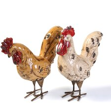 2 Piece Parson Rooster Figurine Set