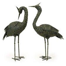 2 Piece Metal Coastal Bird Statue Set