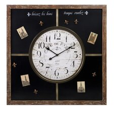 Paris Chalkboard Wall Clock with Magnetic Board