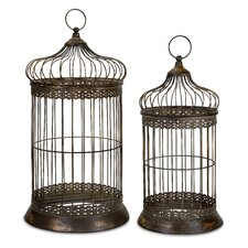 2 Piece Byzantine Dome Birdcage Set in Antique Gold